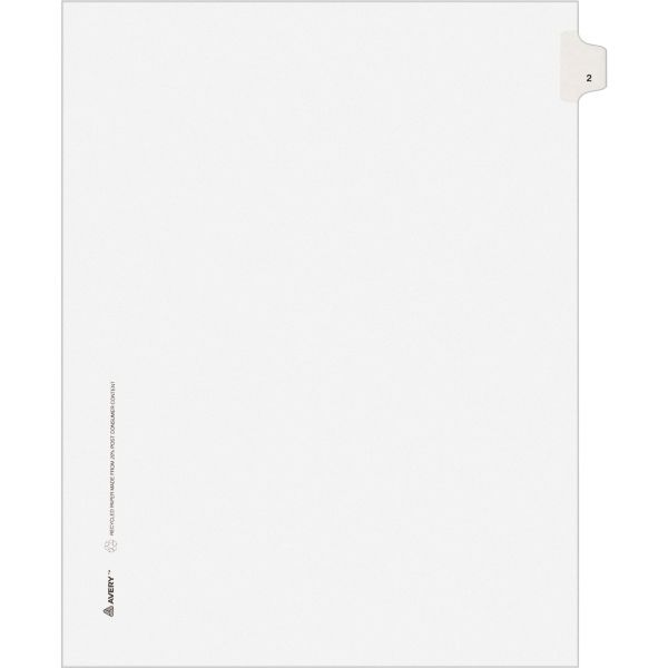 Avery-Style Legal Exhibit Side Tab Divider, Title: 2, Letter, White, 25/Pack