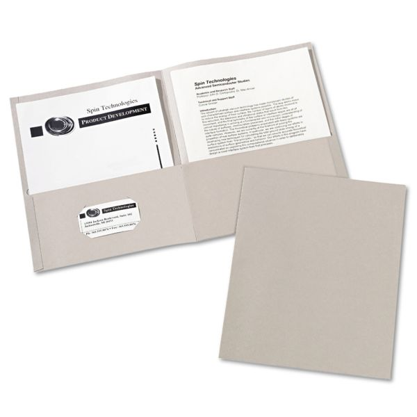 Avery Two-Pocket Folder, 40-Sheet Capacity, Gray, 25/Box