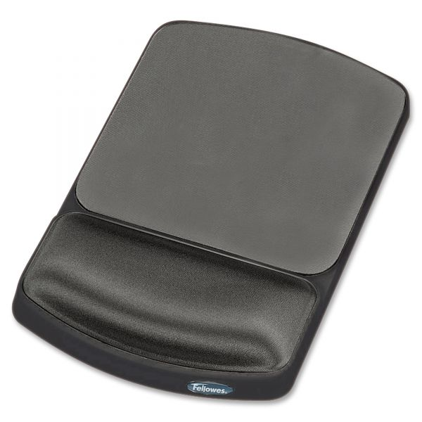 Fellowes Gel Mouse Pad w/Wrist Rest, Nonskid, 6 1/4 x 10 1/8, Platinum/Graphite