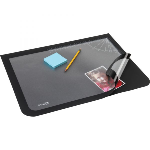 Artistic Lift-Top Pad Desktop Organizer with Clear Overlay, 22 x 17, Black