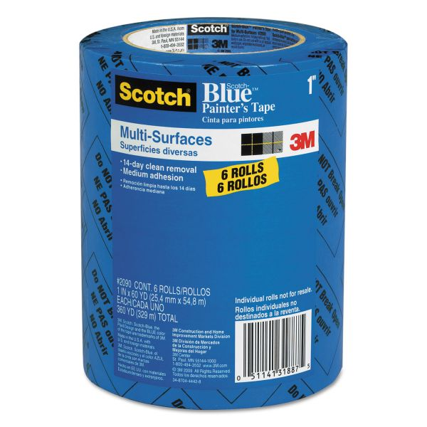 "Scotch Painter's Tape, .94"" x 60yds, 3"" Core, Blue, 6/Pack"