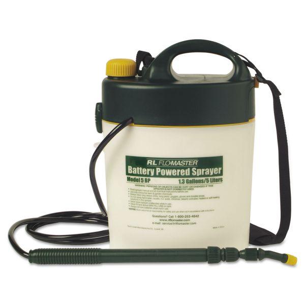 R. L. Flomaster Portable Battery-Powered Sprayer w/Telescoping Wand, 1.3 Gallon, Black/White