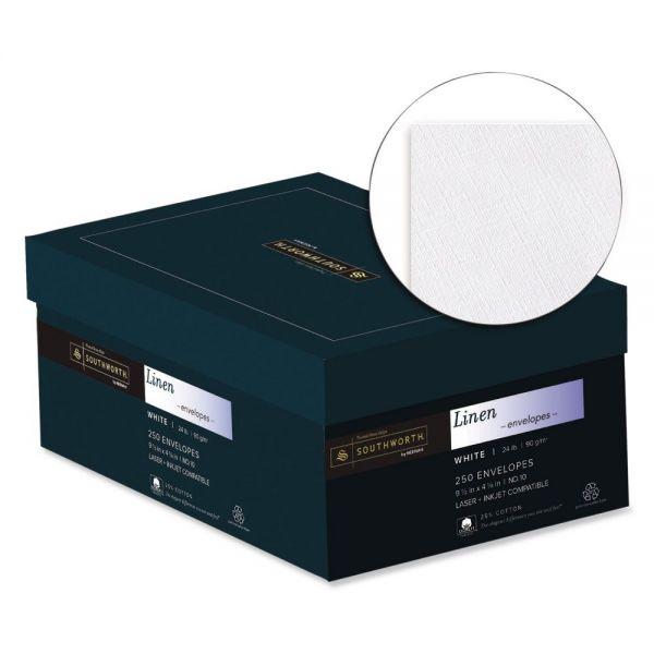 Southworth 25% Cotton #10 Envelope, 4 1/8 x 9 1/2, White, 24lb, Linen, 250/Box