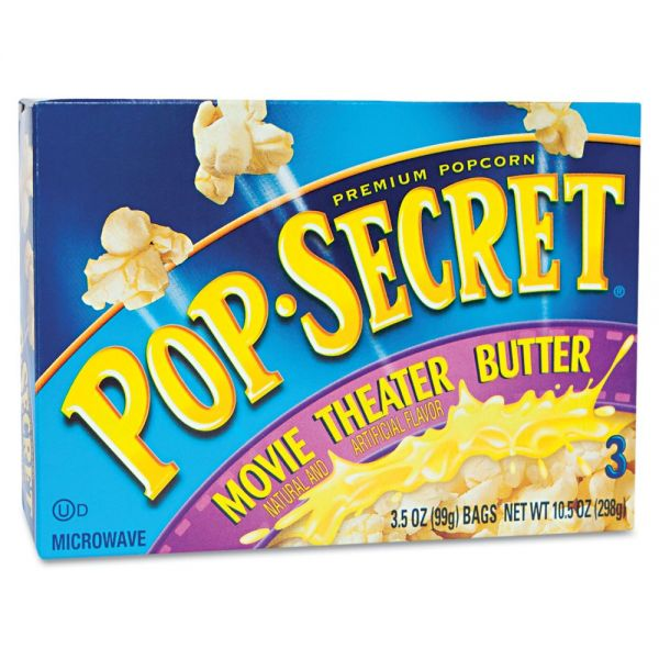 Pop Secret Microwave Popcorn, Movie Theater Butter, 3.2oz Bags, 3/Box