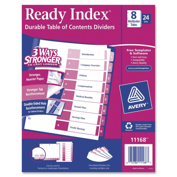 Avery Ready Index Customizable Table of Contents Asst Dividers, 8-Tab, Multi-color Tab, Letter, 24 Sets