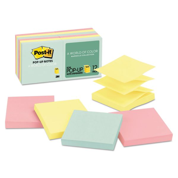 Post-it Pop-up Notes Original Pop-up Refill, 3 x 3, Assorted Marseille Colors, 100-Sheet, 12/Pack