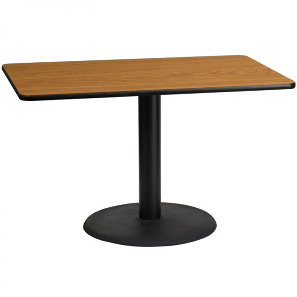 Flash Furniture 30'' x 48'' Rectangular Natural Laminate Table Top with 24'' Round Table Height Base