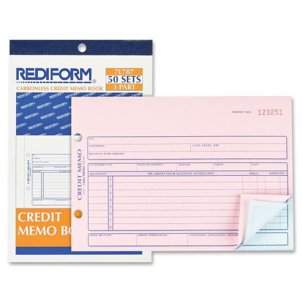 Rediform Credit Memo, 5-1/2 x 7-7/8, Carbonless Triplicate, 50 Sets/Book