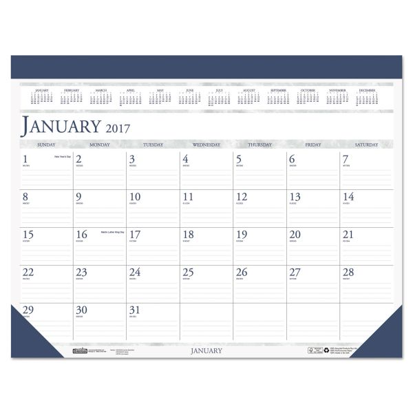 House of Doolittle Two-Color Refillable Monthly Desk Pad Calendar