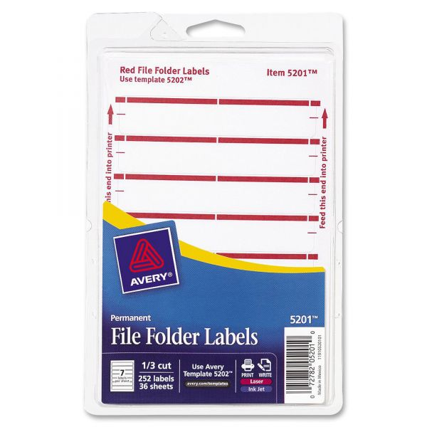Avery Print or Write File Folder Labels, 11/16 x 3 7/16, White/Dark Red Bar, 252/Pack