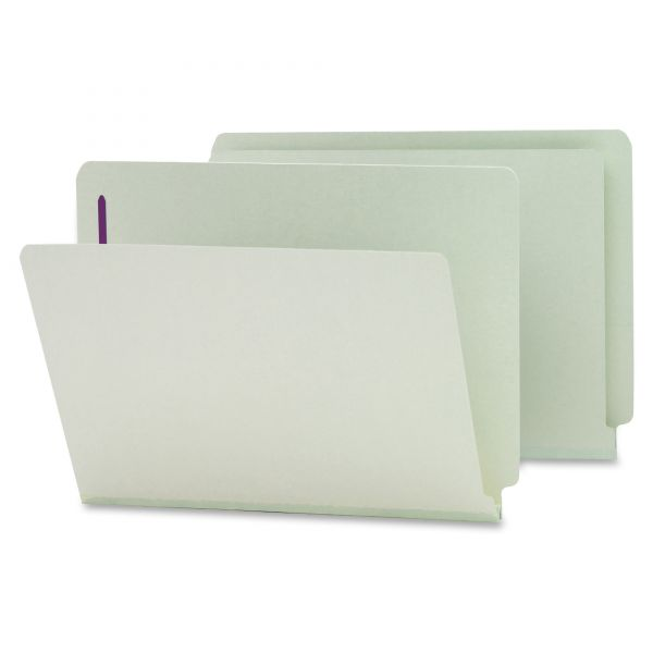 Smead 34705 Gray/Green End Tab Pressboard Fastener File Folders with SafeSHIELD Fasteners
