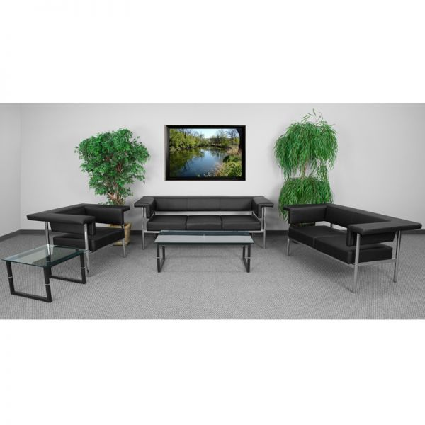 Flash Furniture HERCULES Fusion Series Reception Set in Black