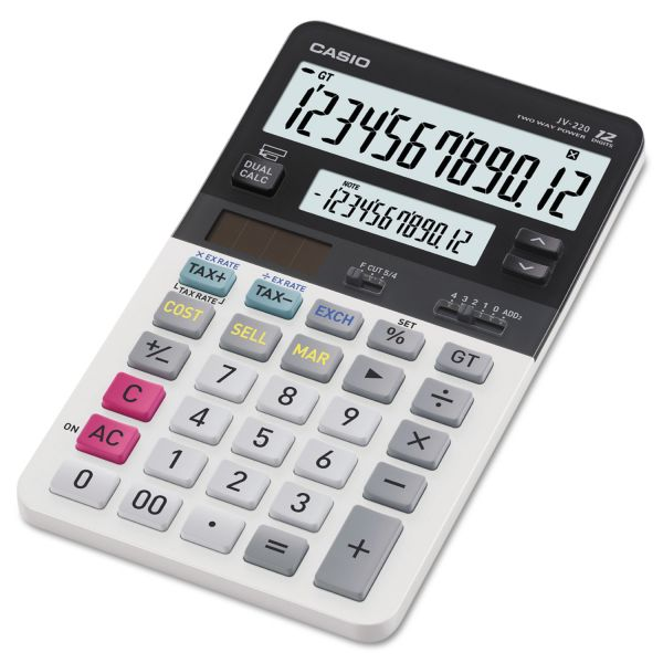 Casio JV220 Dual Display Desktop Calculator, 12-Digit LCD
