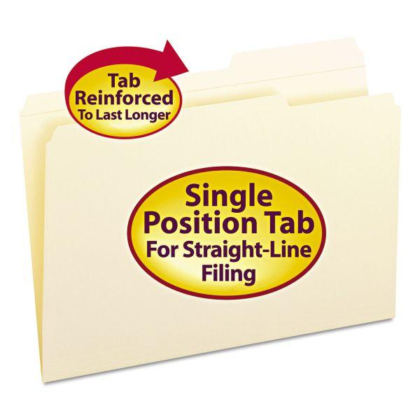 Smead Guide Height Folder, 2/5 Cut Right, Reinforced Top Tab, Legal, Manila, 100/Box