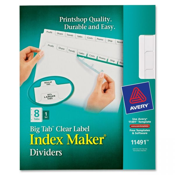 Avery Big Tab Clear Label 8-Tab Index Maker Dividers