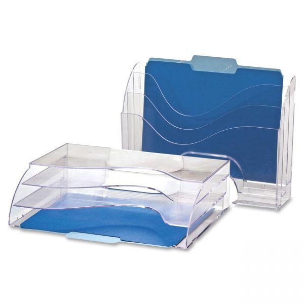 OIC Clear Wave 2-way Desktop Organizer