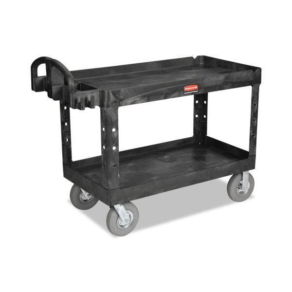 Rubbermaid Commercial Heavy-Duty 2-Shelf Utility Cart, TPR Casters, 26w x 55d x 33 1/4h, Black