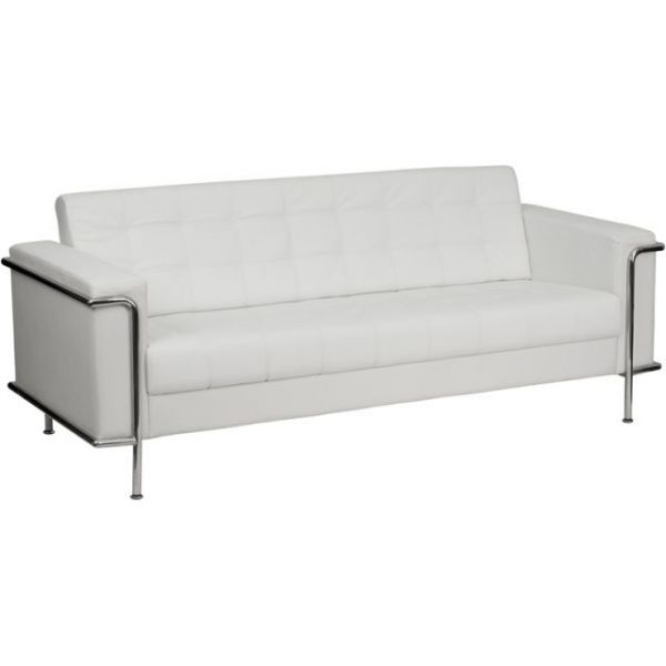 Flash Furniture HERCULES Lesley Series Contemporary White Leather Sofa with Encasing Frame [ZB-LESLEY-8090-SOFA-WH-GG]