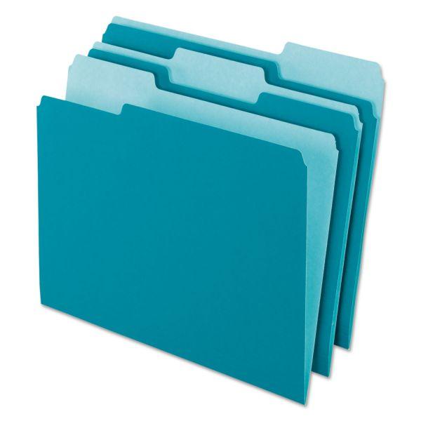Pendaflex Interior File Folders, 1/3 Cut Top Tab, Letter, Teal, 100/Box