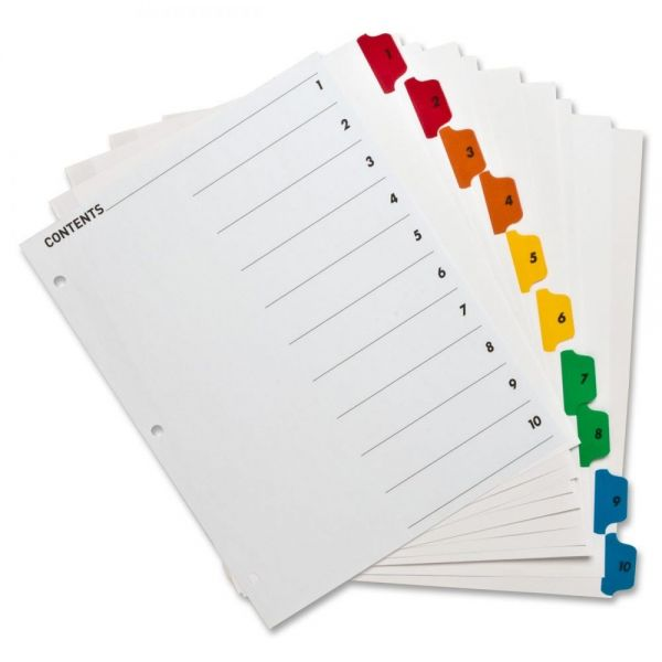Sparco Quick Index 10-Tab Numbered Dividers With Table Of Contents Page
