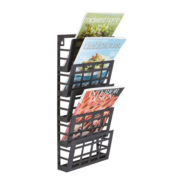 Safco Grid Magazine Rack, Five Compartments, 9-1/2w x 5-1/2d x 21-1/2h, Black