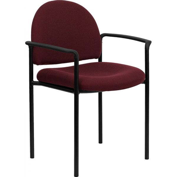 Flash Furniture Burgundy Fabric Comfortable Stackable Steel Side Chair with Arms