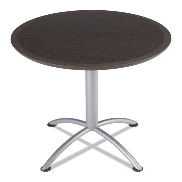 Iceberg iLand Table, Dura Edge, Round Seated Style, 36 dia x 29h, Gray Walnut/Silver
