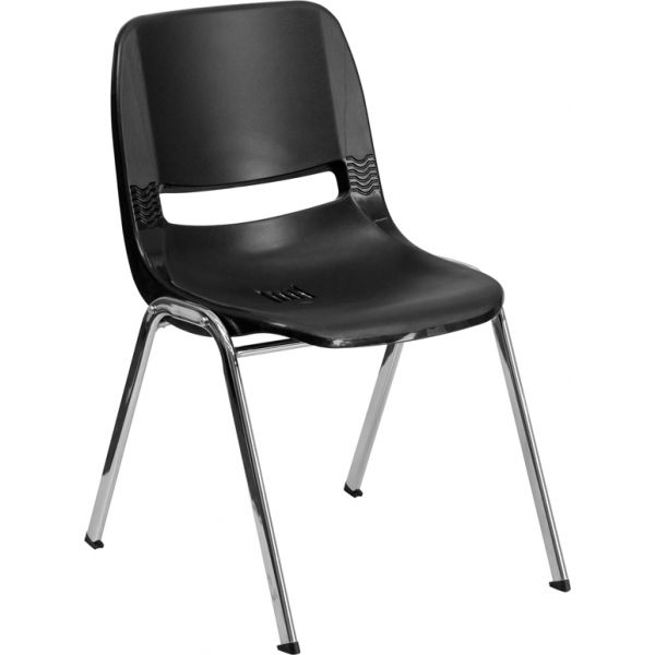 Flash Furniture HERCULES Series 880 lb. Capacity Black Ergonomic Shell Stack Chair with Chrome Frame and 18'' Seat Height