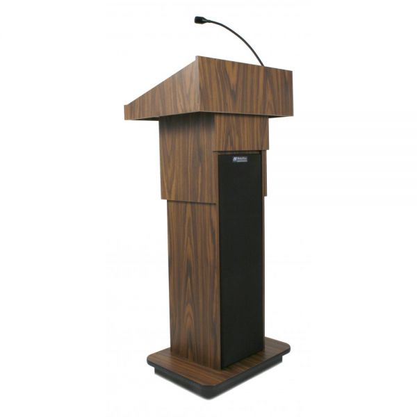 AmpliVox Executive Adjustable Sound Lectern, Column, 24w x 17-1/2d x 36-44h, Medium Oak