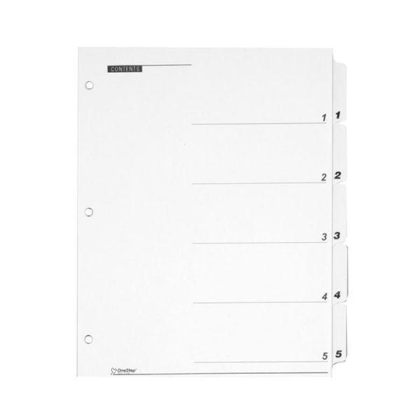 Cardinal QuickStep OneStep Bulk Index System, Title: 1-5, Letter, White, 24 Sets/Box