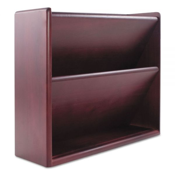 Carver Hardwood Double Wall File, Letter, Two Pocket, Mahogany