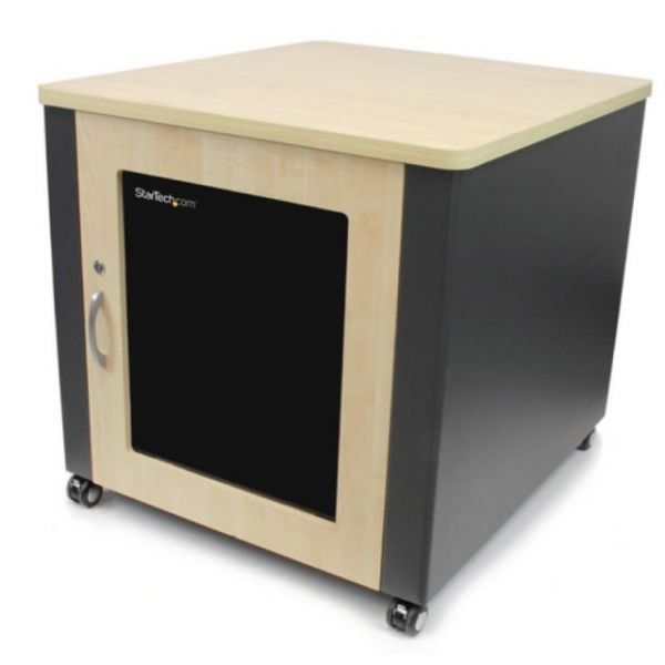 StarTech.com Soundproof Server Rack with Casters - Acoustic Cabinet for Servers with Stylish Wood Finish - 12U