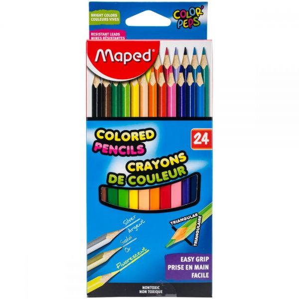 Color'Peps Triangular Colored Pencils 24/Pkg