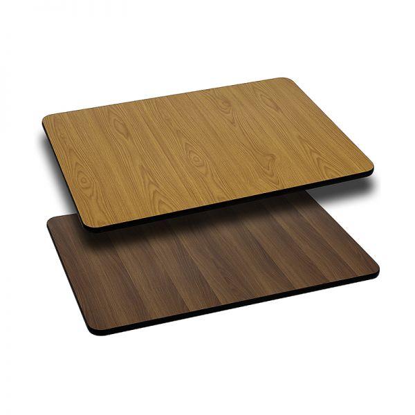 Flash Furniture 30'' x 42'' Rectangular Table Top with Natural or Walnut Reversible Laminate Top