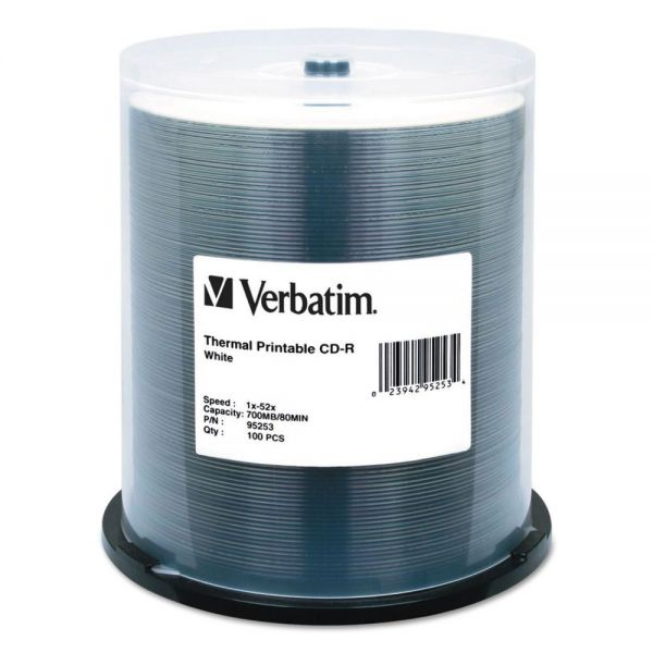 Verbatim CD-R Discs, Printable, 700MB/80min, 52x, Spindle, White, 100/Pack