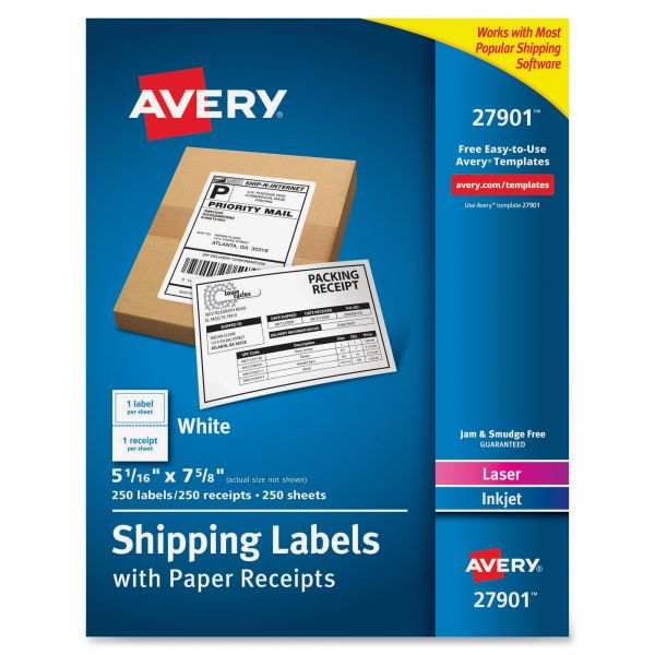 Avery 27901 Paper Receipt Shipping Labels
