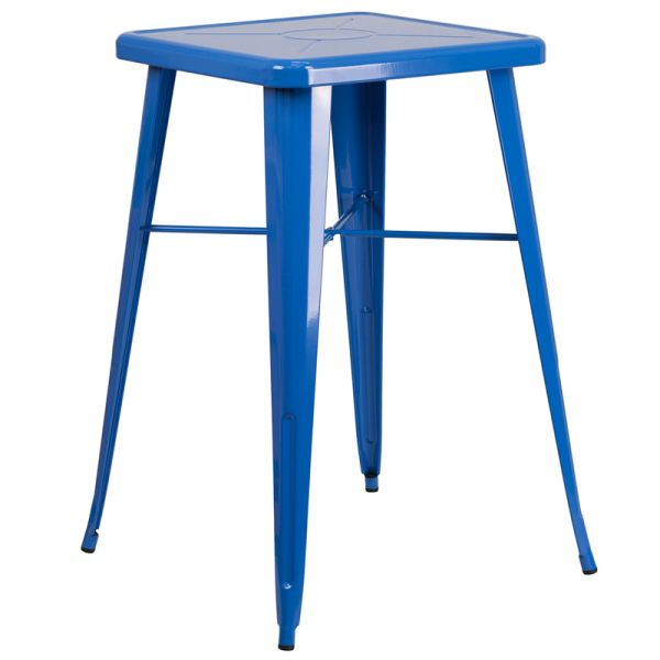Flash Furniture 23.75'' Square Blue Metal Indoor-Outdoor Bar Height Table
