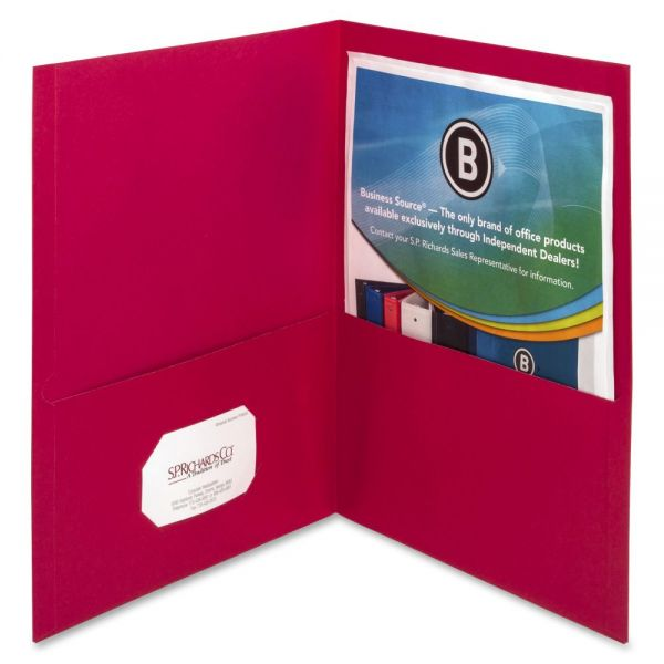 Business Source Red Two Pocket Folders