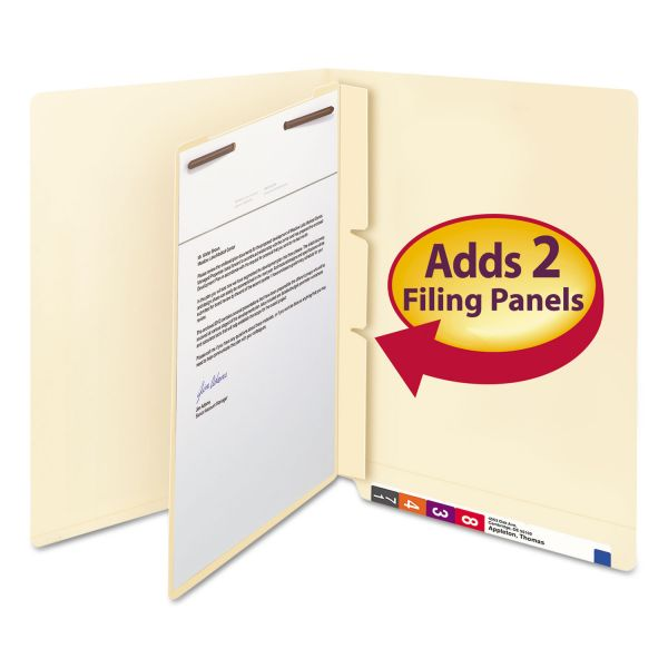 Smead Manila Self-Adhesive End/Top Tab Folder Dividers, 2-Sections, Letter, 100/Box