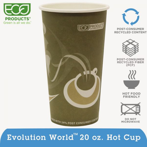 Eco-Products Evolution World 24% Recycled Content Hot Cups Convenience Pack - 20oz., 50/PK