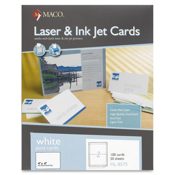 "Maco 4"" x 6"" Blank Index Cards"