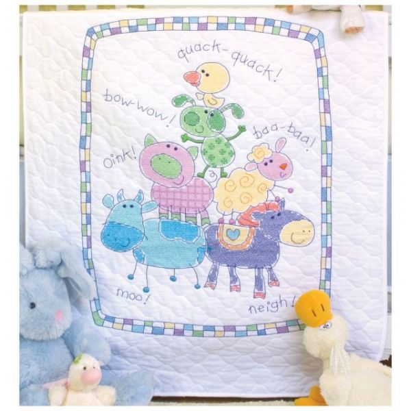 Baby Hugs Farm Friends Quilt Stamped Cross Stitch Kit