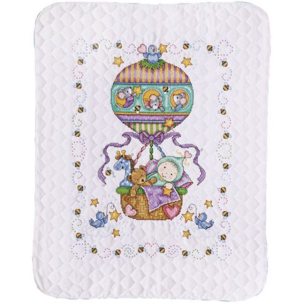 Balloon Ride Baby Quilt Stamped Cross Stitch Kit