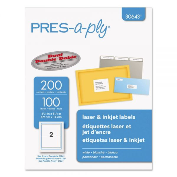 PRES-a-ply Laser/Inkjet Shipping Labels, 5 1/2 x 8 1/2, White, 200/Pack