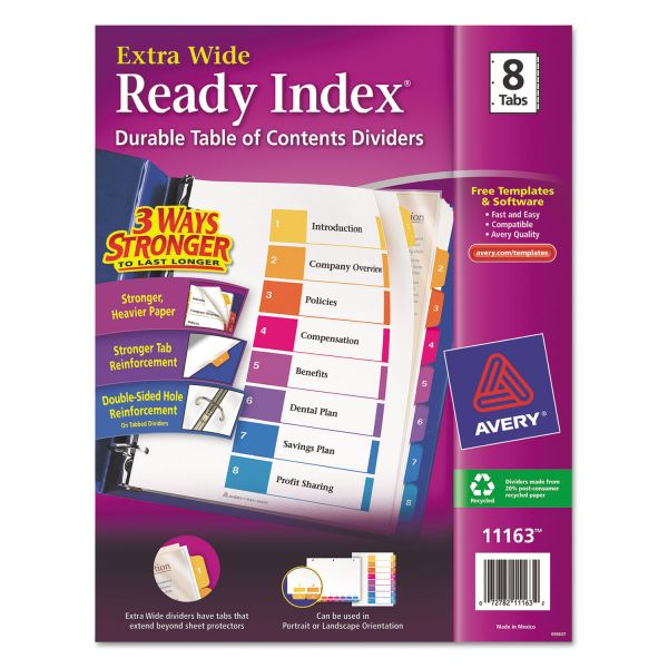 Avery Extra Wide Index 8-Tab Numbered Dividers With Table Of Contents Page