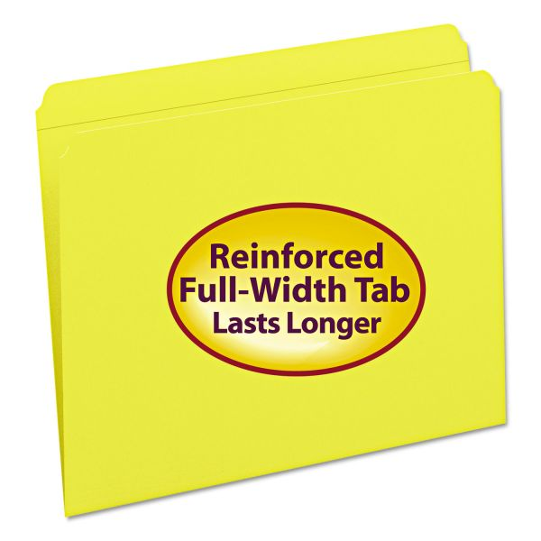 Smead 12910 Yellow Colored File Folders with Reinforced Tab