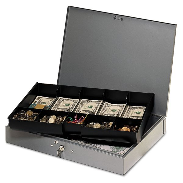MMF Heavy Gauge Steel Cash Box w/Tray