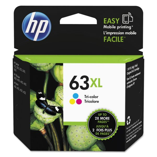 HP 63XL High-Yield Tri-Color Ink Cartridge (F6U63AN)