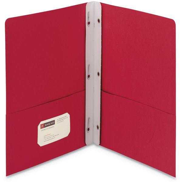Smead 2-Pocket Folder w/Tang Fastener, 100-Sheet Capacity, Red, 25/Box