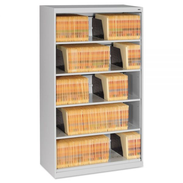 Tennsco Open Fixed Shelf Lateral File, 36w x 16 1/2d x 63 1/2, Light Gray